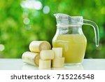 fresh  sugar cane cut and... | Shutterstock . vector #715226548