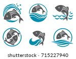 collection of fish icon with...   Shutterstock .eps vector #715227940