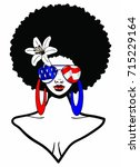 beautiful black woman with afro ... | Shutterstock . vector #715229164