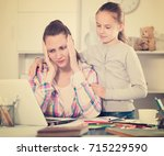 portrait of sad female with... | Shutterstock . vector #715229590