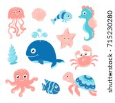 ocean set with cartoon sea... | Shutterstock .eps vector #715230280