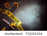 bloody knife and cigarette... | Shutterstock . vector #715231216