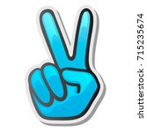 peace hand gesture sticker  two ... | Shutterstock .eps vector #715235674