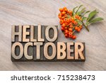 hello october greeting card  ... | Shutterstock . vector #715238473