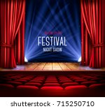 a theater stage with a red... | Shutterstock .eps vector #715250710