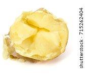 one boiled peeled potato half...   Shutterstock . vector #715262404