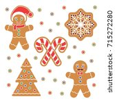 christmas gingerbread cookie... | Shutterstock .eps vector #715272280