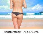 young girl bikini sexy on beach ... | Shutterstock . vector #715273696
