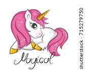 cute magical unicorn. vector... | Shutterstock .eps vector #715279750