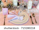elegance luxury tableware setup ... | Shutterstock . vector #715280218