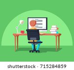 student in learning process ... | Shutterstock .eps vector #715284859