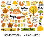 autumn set  hand drawn elements ... | Shutterstock .eps vector #715286890