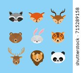 set cute animal and natural... | Shutterstock .eps vector #715289158