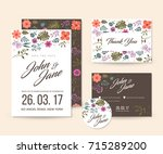 modern save the date  floral... | Shutterstock .eps vector #715289200