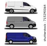 realistic cargo van. set. | Shutterstock .eps vector #715290364