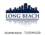 long beach skyline city logo | Shutterstock .eps vector #715294120