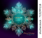 green polygonal snowflake with... | Shutterstock .eps vector #715299118