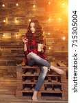 young beautiful modern... | Shutterstock . vector #715305004