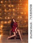 young beautiful modern... | Shutterstock . vector #715305058