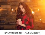 young beautiful modern... | Shutterstock . vector #715305094