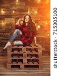 young beautiful modern... | Shutterstock . vector #715305100