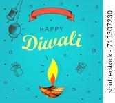 diwali hindu festival flat... | Shutterstock .eps vector #715307230