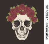 vintage hand drawn skull with... | Shutterstock .eps vector #715309108