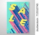 vector bright sale memphis... | Shutterstock .eps vector #715310740