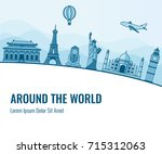 travel composition with famous... | Shutterstock .eps vector #715312063