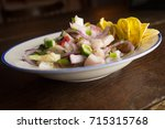 chilled spicy ceviche with... | Shutterstock . vector #715315768