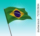waving brazil flag. vector... | Shutterstock .eps vector #715315834