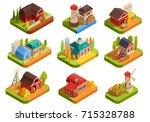 colorful farm isometric set... | Shutterstock .eps vector #715328788