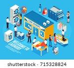 laundry interior isometric... | Shutterstock .eps vector #715328824