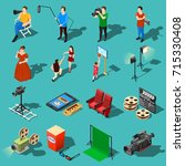 isometric movie shooting icons... | Shutterstock .eps vector #715330408