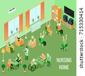 nursing home residents room... | Shutterstock .eps vector #715330414