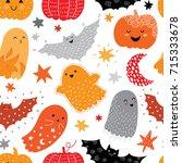 hand drawn bright halloween... | Shutterstock .eps vector #715333678