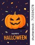 happy halloween. vector... | Shutterstock .eps vector #715334278