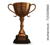 bronze cup trophy isolated on... | Shutterstock . vector #715334860