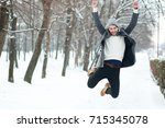 Happy Young Man On Winter Park...