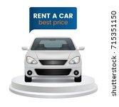 rent a car concept. white car... | Shutterstock .eps vector #715351150