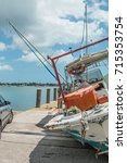 Small photo of MIAMI, FLORIDA - SEPTEMBER 12th, 2017: consequences of the hurricane IRMA on Miami marina, boat damages.