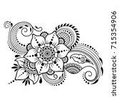 mehndi flower pattern for henna ... | Shutterstock .eps vector #715354906