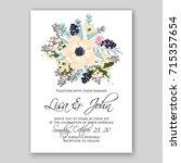 poppy ranunculus wedding... | Shutterstock .eps vector #715357654