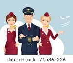 pilot and flight attendant of... | Shutterstock .eps vector #715362226