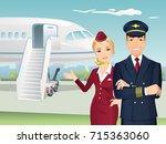 pilot and flight attendant of... | Shutterstock .eps vector #715363060