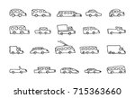 doodle transport car icons... | Shutterstock .eps vector #715363660