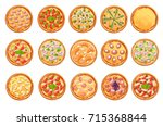 set of flat pizza icons... | Shutterstock .eps vector #715368844