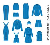 denim clothes flat icons.... | Shutterstock .eps vector #715372378