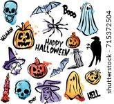 halloween package of watercolor ... | Shutterstock .eps vector #715372504