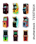 vector set of arcade machines | Shutterstock .eps vector #715373614